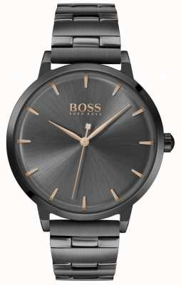 Boss | Frauenhafen | schwarzes pvd plattiertes armband | schwarzes Zifferblatt | 1502503