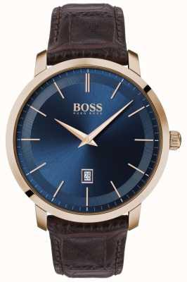 Boss | Herren Premium Klassiker | braunes Lederband | blaues Zifferblatt | 1513745