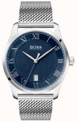 Boss | Herrenmeister | Edelstahlgewebe Armband | blaues Zifferblatt | 1513737
