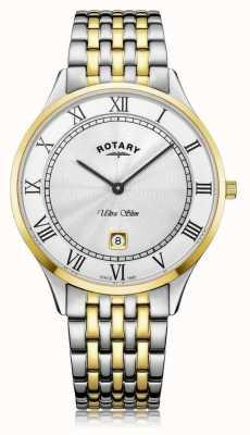 Rotary | Männer ultra schlank | zweifarbiger Edelstahl | weißes Zifferblatt | GB08301/01