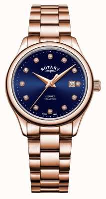 Rotary | Frauen Oxford | roségold pvd plattiert | blaues Sonnenstrahlzifferblatt | LB05096/05/D