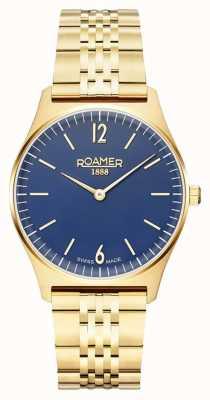 Roamer | Frauenelemente vergoldeter Edelstahl | blaues Zifferblatt 650815 48 45 50