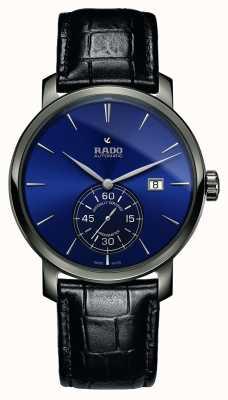 Rado   xl diamaster petite seconde   schwarzes Leder   blaues Zifferblatt   R14053206