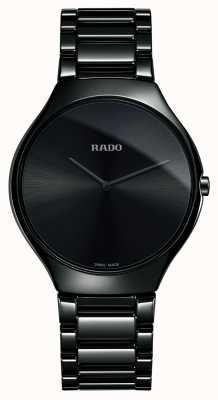 Rado Echte dünne High-Tech Keramikuhr mit schwarzem Zifferblatt R27741182