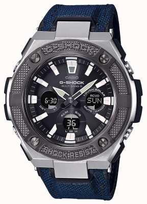 Casio | g-shock | g-stahl | blaues Cordura / Lederarmband | GST-W330AC-2AER