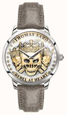 Thomas Sabo | Männer Rebellengeist 3D-Schädel | goldenes Zifferblatt | Lederband | WA0356-273-207-42