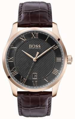 Boss | Herrenmeister | braunes Lederband | graues Zifferblatt | 1513740