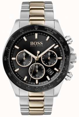 BOSS | Männer | Held Sport Lux | zweifarbiges Armband | schwarzes Zifferblatt | 1513757