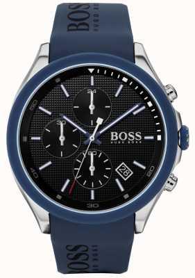 Boss | Geschwindigkeit der Männer blaues Kautschukband | schwarzes Zifferblatt | 1513717