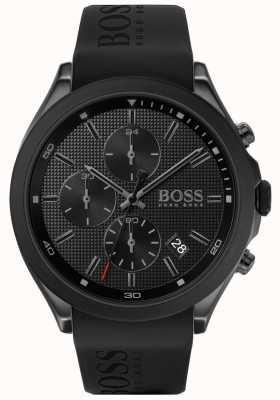 Boss | Geschwindigkeit der Männer schwarzes Kautschukband | schwarzes Zifferblatt | 1513720