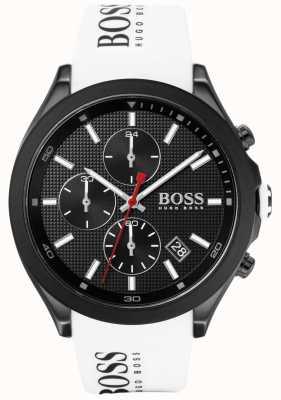 Boss | Geschwindigkeit der Männer weißes Kautschukband | schwarzes Zifferblatt | 1513718