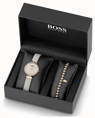 Boss Damen Leder Kristall Set Uhr und Armband Set 1570094
