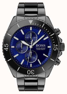 Boss | Herren Ocean Edition | schwarzer edelstahl | blaues Zifferblatt | 1513743