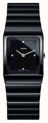 Rado | ceramica diamanten | quadratisches Zifferblatt | Armband aus schwarzer Keramik R21702702