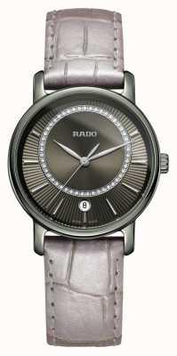 RADO Diamaster Diamanten graues Lederarmband graues Zifferblatt Uhr R14064715