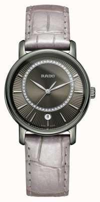 Rado Diamaster Diamonds graues Lederarmband graues Zifferblatt Uhr R14064715