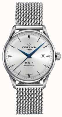 Certina | ds-1 powermatic 80 | silbernes mesh armband | silbernes Zifferblatt | C0298071103102