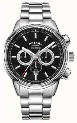 Rotary | herren cambridge chronograph | schwarzes Zifferblatt | rostfreier Stahl GB05395/04