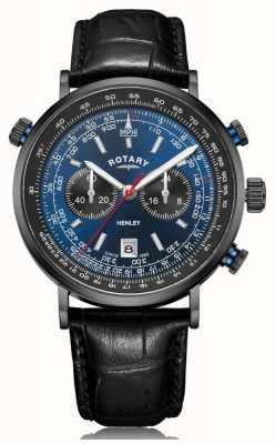 Rotary | herren henley chronograph | blaues Zifferblatt | schwarzes Lederband GS05238/05