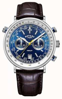 Rotary | herren henley chronograph | blaues Zifferblatt | braunes Lederband GS05235/05