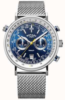Rotary | Herren Henley Chronograph | Stahlgitterarmband | blaues Zifferblatt GB05235/05