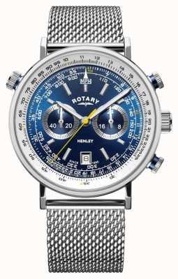 Rotary | herren henley chronograph | stahlgeflecht armband | blaues Zifferblatt GB05235/05