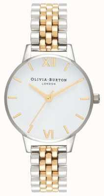 Olivia Burton   Frauen   Midi-Zifferblatt   zweifarbiges Armband   weißes Zifferblatt   OB16MDW34