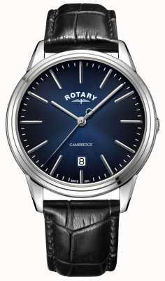 Rotary | Männer-Cambridge | blaues Zifferblatt | schwarzes Lederband | GS05390/05