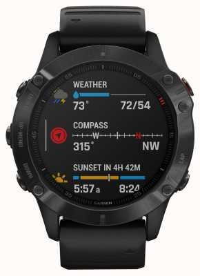 Garmin Fenix 6 Pro Gorilla Glas | Multisport-Smartwatch | schwarzes Kautschukband 010-02158-02
