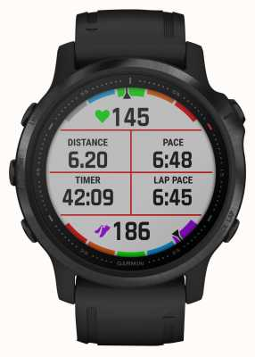 Garmin Fenix 6s pro | Multisport-Smartwatch | schwarzes Kautschukband 010-02159-14
