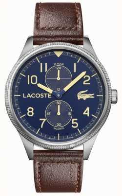 Lacoste | Männerkontinental | braunes Lederband | blaues Zifferblatt | 2011040