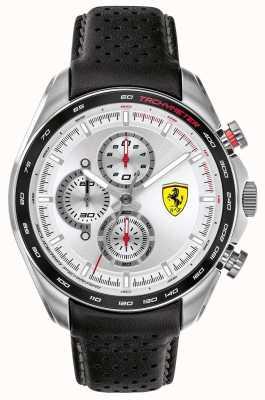 Scuderia Ferrari | Speed-Racer für Herren | schwarzes Lederband | silbernes Zifferblatt | 0830651