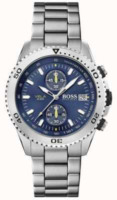 Boss | vela | Chronograph | Stahlband | blaues Zifferblatt | 1513775