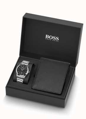 Boss | herren | uhr und schwarzes leder brieftaschenset | 1570093