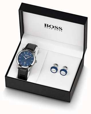 BOSS | herren | blaue uhr und manschettenknopf set | 1570092