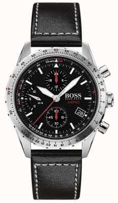 Boss | aero | schwarzer chronograph | schwarzes Lederband | 1513770