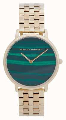 Rebecca Minkoff Frauenfach | vergoldetes Stahlband | Malachit Zifferblatt 2200373