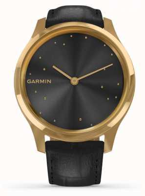 Garmin Vivomove 3 luxe | 24 Karat Gold PvD Fall | schwarzes italienisches Leder 010-02241-02