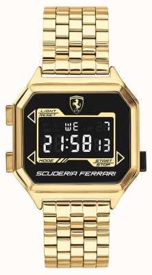 Scuderia Ferrari | Männer Digidrive | vergoldetes Armband | schwarzes Zifferblatt | 0830705
