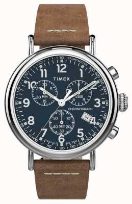 Timex | Standard Chrono 41mm | braunes Lederband | blaues Zifferblatt | TW2T68900