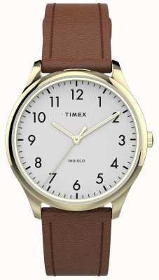 Timex | easy reader 32mm | braunes Lederband | weißes Zifferblatt | TW2T72300