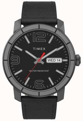 Timex | herren mod 44mm | schwarzes Lederband | schwarzes Zifferblatt | TW2T72600