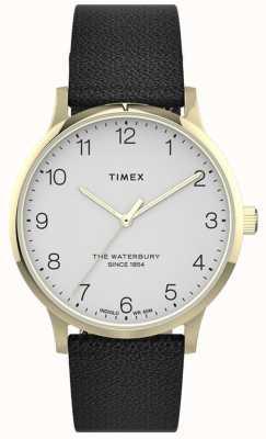 Timex | Frauen Waterbury | schwarzes Lederband | weißes Zifferblatt | TW2T75200