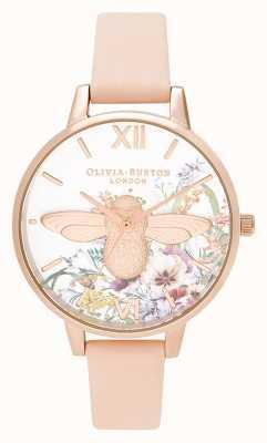 Olivia Burton | Frauen | verzauberter garten | 3d biene | pfirsichfarbenes Lederband | OB16EG151