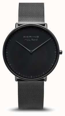 Bering | max rené | Herrenmatte schwarz | schwarzes Stahlband | 15738-123