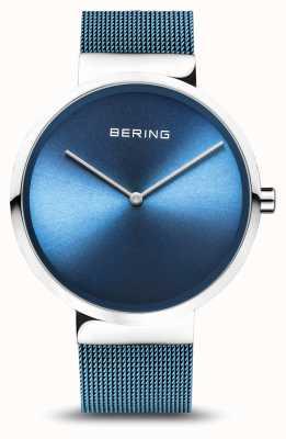 Bering | klassisch | silber poliert / gebürstet | blaues mesh armband | 14539-308