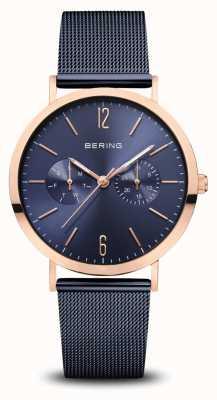 Bering | klassisch | poliertes roségold | blaues mesh armband | 14236-367