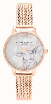 Olivia Burton | Frauen | illustrierte tiere | Hase | Roségold Masche | OB16WL85