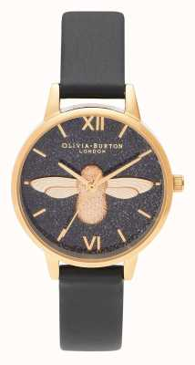 Olivia Burton | Frauen | Glitzerzifferblatt | 3d Biene | schwarzes Lederband | OB16GD48