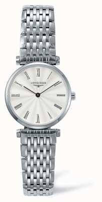Longines Eleganz klassisches silbernes Armband   weißes Gesicht   L42094716